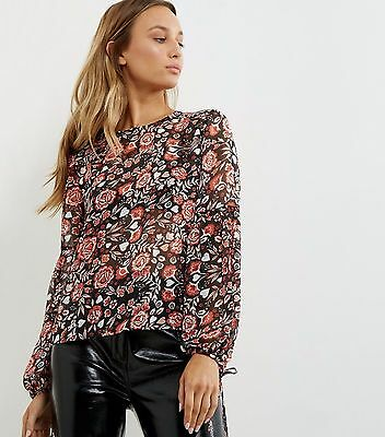 Lovely Black Floral Print Chiffon Tie Sleeve Top  Size UK 10 £19.99