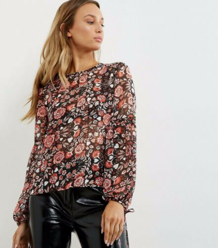 Lovely Black Floral Print Chiffon Tie Sleeve Top  Size UK 8 £19.99