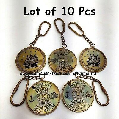 LOT OF 10 PCS VINTAGE STYLE BRASS POCKET COMPASS KEY CHAIN CHRISTMAS GIFT