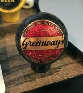 VINTAGE-GREENWAYS-BEER-BALL-TAP-KNOB-GREENWAY-BREWING-CO-SYRACUSE-NY-NEW-YORK