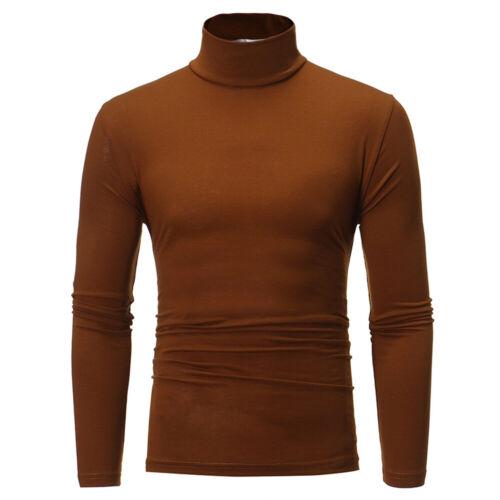 Men/'s Long Sleeve Pullover High Neck Turtleneck Stretch Slim Basic T Shirt Tops
