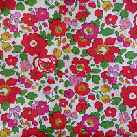52cm x 1.37m Liberty Prints Lawn 'Betsy' Cotton Dress Crafts Fabric Red Green