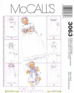 McCalls-Sewing-Pattern-3063-Infant-Baby-Christening-Gown-Bonnets-Size-NB-L