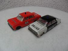 DDR Blech Spielzeug Feuerwehr u. Polizei altes Blech Auto Schwungrad Antrieb