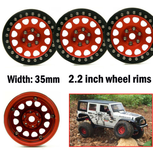 4Pcs Alloy 2.2 Beadlock Wheel Rims for 1/10 RC Crawler D90 Axial Wraith 35mm