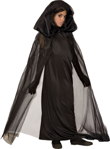 Haunted Girl Child Gothic Vampire Witch Black Dress /& Cape Halloween Costume New
