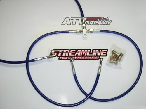 """STREAMLINE 2/"""" BLACK EXTENDED REAR STEEL BRAIDED BRAKE LINE SUZUKI LT250R 1985+"""
