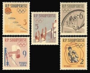 Albania 1963 MNH 5v, Olympics, Sports, Cycling, Volleyball, Boxing