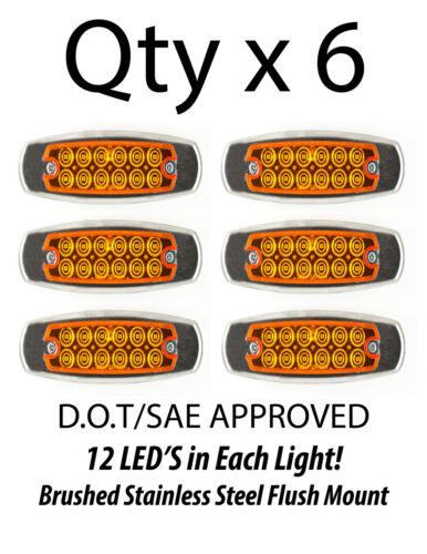 6 Amber 12 LED Sealed Side Marker Clearance Light Fish Shape Truck Trailer 12V