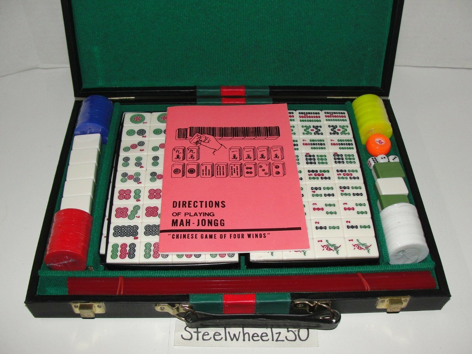 Mah Jong 144 Tile Game Of Four Winds Faux Leather Carrying Case NEW SEALED Jongg
