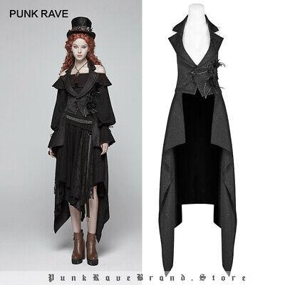 Punk Rave Womens Long Gothic Dress Jacket Black Velvet Steampunk Victorian VTG