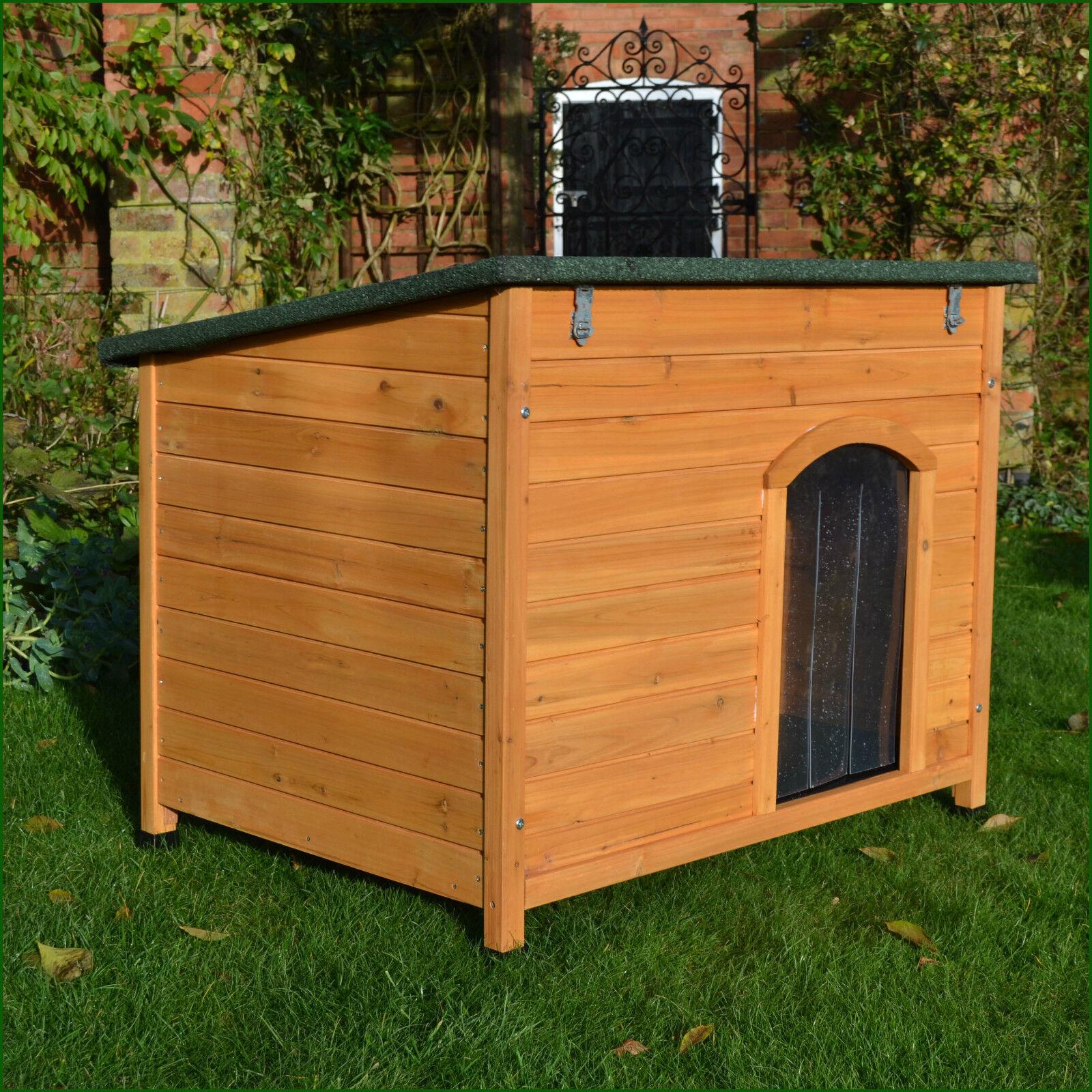 Large wooden dog kennel sloped roof kennels dog house for Puppy dog kennels