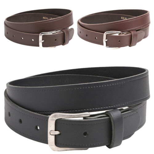 """Mens Ladies 30mm 1.25/"""" Genuine UK Made Leather Belt Slim Thin Black Brown Tan"""
