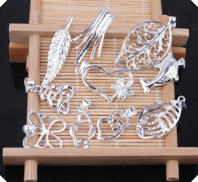10PCS wholesale mix Silver fashion jewelry necklace pendants