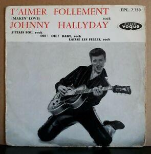 "Rare EP 45T Johnny Hallyday ""T'aimer Follement"" 1960 - Imp. Saint-Roch. Centreur"