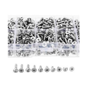 400pcs-M3-A2-Stainless-Steel-Button-amp-Flat-Socket-Head-Screw-Assortment-Kit