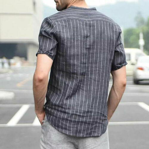 Men/'s Linen Short Sleeve Shirt Summer Cool Loose Casual V-Neck Shirts Tops M-2XL