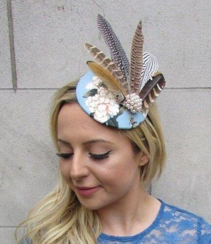 Cornflower Blue Floral Print Pheasant Feather Fascinator Pillbox Races Hat 6124