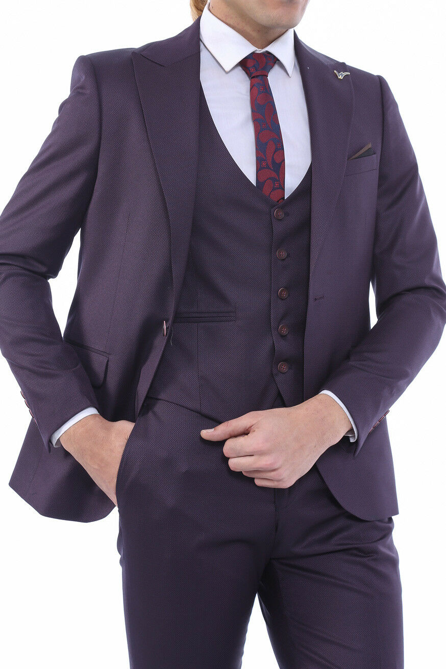 Men 3pc Vested Suit Turkey WESSI by J valintin  European Slim Fit 127-82 Plum