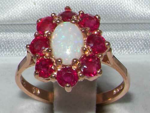 14k pink gold Natural Opal & Ruby Womens Cluster Ring - Sizes 4 to 12