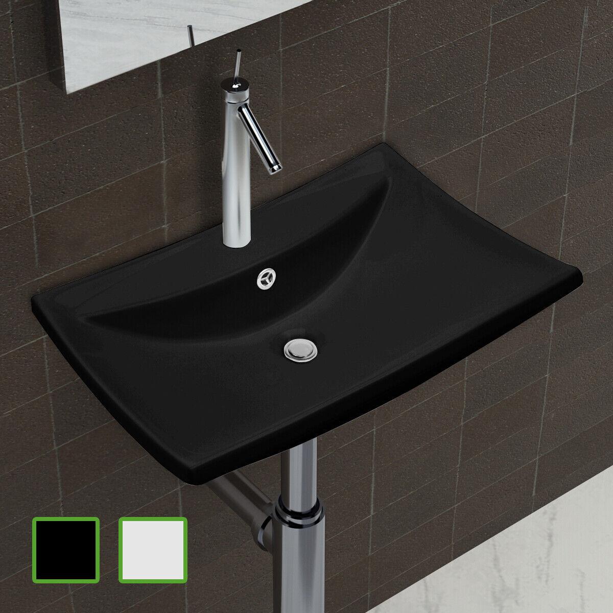 Luxueuse vasque céramique rectangulaire avec trop plein Blanc   Noir