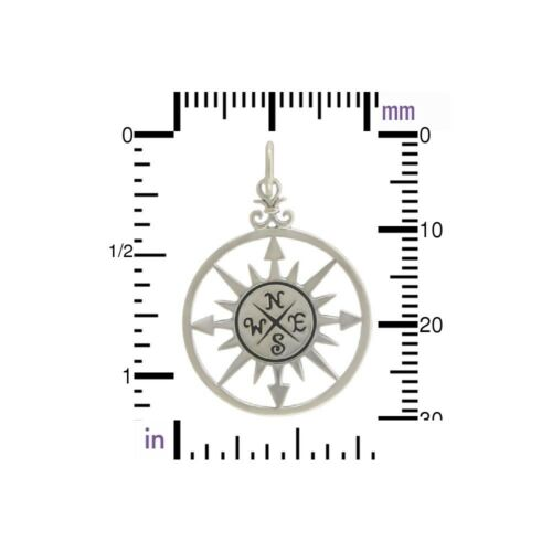 925 Sterling Silver Compass Rose Charm Necklace Graduation Travel Adventure 749