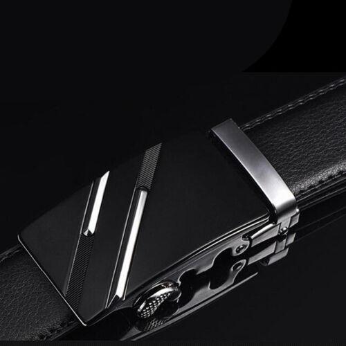 Men/'s Leather Automatic Buckle Black Waist Strap Belt Waistband--de