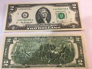 Image Is Loading New Uncirculated 2 Two Dollar Bill Note Usd