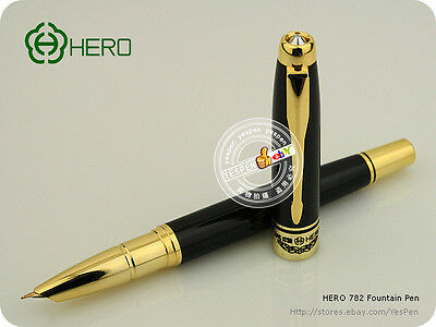 Vintage HERO Pen 782 Fountain Pen 10K Solid Gold Hooded Nib GT Early Gold Pen