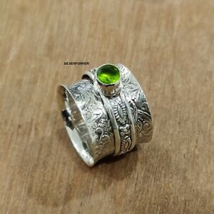Peridot-Ring-Solid-925-Sterling-Silver-Spinner-Ring-Meditation-Ring-Size-N-ra104