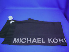 MICHAEL KORS Long Black Scarf with Silver Studded Logo New