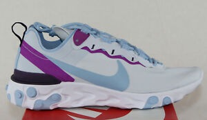 New-Nike-Women-039-s-React-Element-55-in-Football-Grey-Psychic-Blue-Colour-Size-9-5