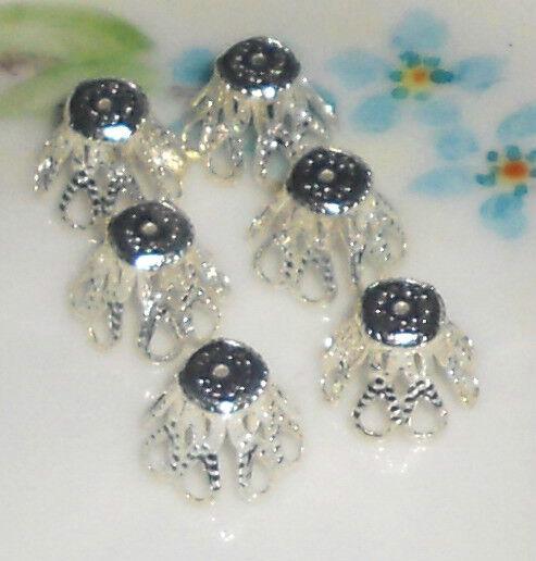 Vintage Bead Caps,Silver bead caps,Filigree bead caps,victorian Cone 9mm #778