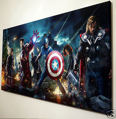 MARVEL AVENGERS CANVAS ART PICTURE  LARGE 12 x 20 inch  READY TO HANG