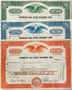 Washington-Real-Estate-Investment-Trust-gt-set-of-3-D-C-REIT-stock-certificates