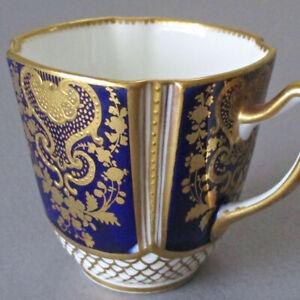Antique COPELAND HP Porcelain Quatrefoil Demitasse Cup COBALT w Lush GILT Paste