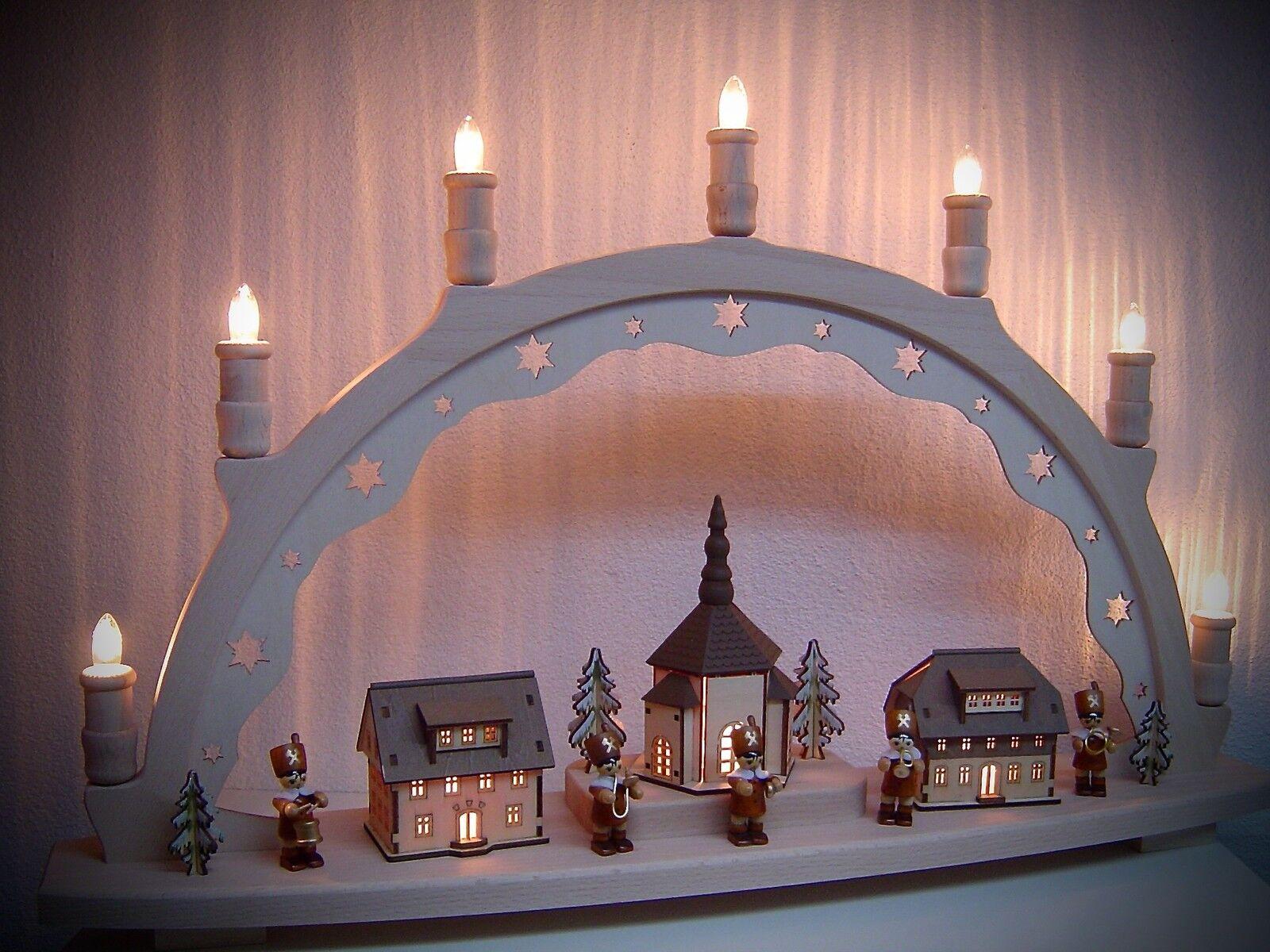 Lumières Arc Schwibbogen 3d Bergmann Chapelle avec 5 Zombie 66x41 cm 10204