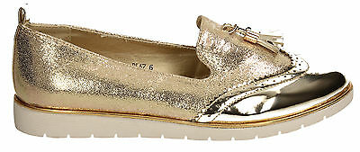 Womens Girls Designer Casual Gold Metallic Loafers Brogues Trainers Sneakers