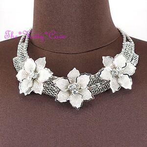 Plata-Deco-Metal-Trio-Encaje-Malla-Floral-Flor-Guirnalda-Cristal-Collar-collar