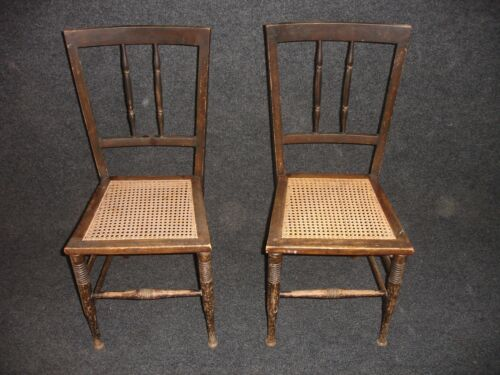 ANTIQUE VINTAGE RETRO OLD WOOD WOODEN RATTAN SHABBY CHIC PAIR OF DINING CHAIRS