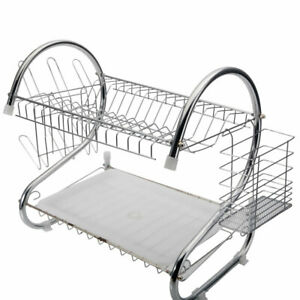 2-Tier-Dish-Drying-Rack-Stainless-Steel-Drainer-Kitchen-Storage-Space-Saver-US