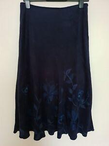 Per Una Women's Skirt Navy Blue A-line Embroider Aplique Flower 10 Petite Autumn
