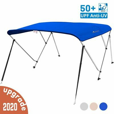 """4 Bow Boat Bimini Top Cover Boat Canopy Shade with Support Pole Boot Grey 91-96/"""""""