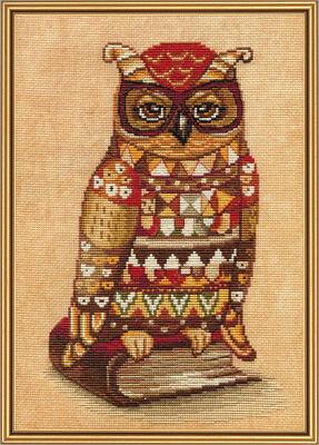 Eule mit Buch Kinder Motiv Kreuzstich Packung Stick Set Thread embroidery kit149