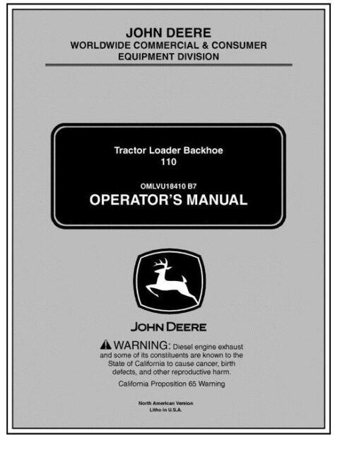 JOHN DEERE 110TLB TRACTOR LOADER AND BACKHOE ( OPERATORS MANUALS )  English