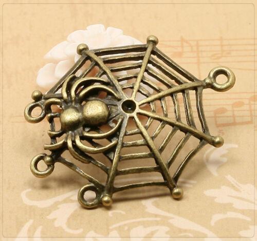 4x metal colgante Charm tela de araña los conectores joyas DIY bronce 33x38mm