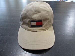 bbd2e28e VINTAGE Tommy Hilfiger Leather Strap Back Hat Cap Brown Flag Logo ...