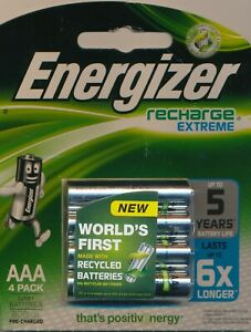 Energizer-4-pack-Recharge-Extreme-Rechargeable-Batteries-AAA-1-2V-800mAh-NiMH