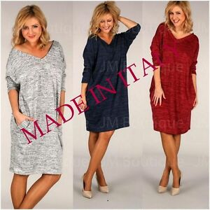Details about Wolfairy Womens Plus Size Jumper Midi Dress Spring V-neck 3/4  Sleeve Casual