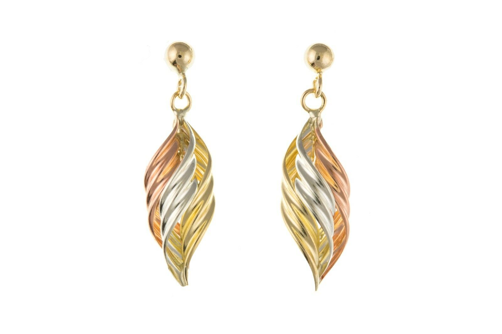 Solid gold Drop Earrings Three Colour 9 Carat Twist Drops pink Yellow White